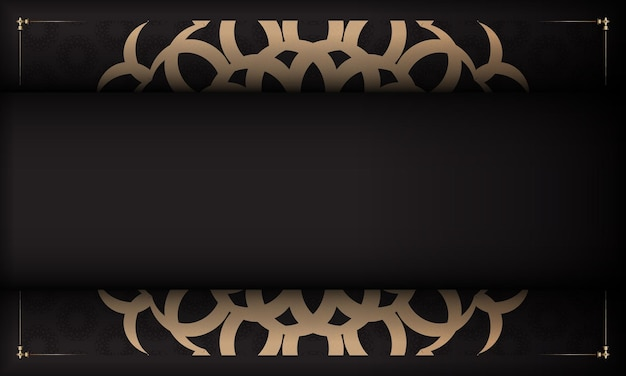 Faixa preta com ornamentos luxuosos e lugar para o seu texto e logotipo. design de cartão postal com padrões vintage.