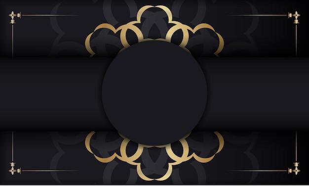 Faixa preta com padrão vintage dourado