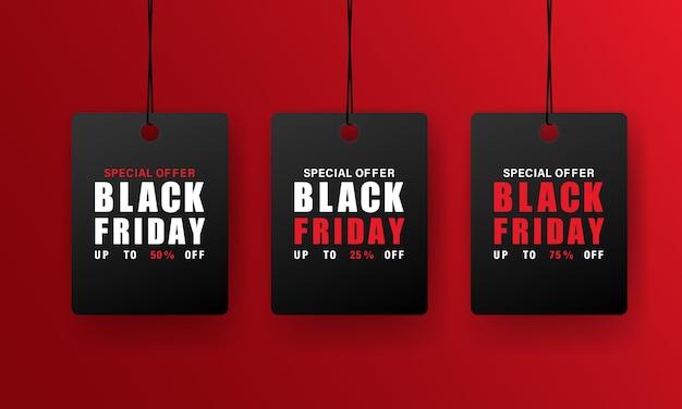 Faixa preta da etiqueta de preço da sexta-feira e elementos de promoção ou venda com desconto