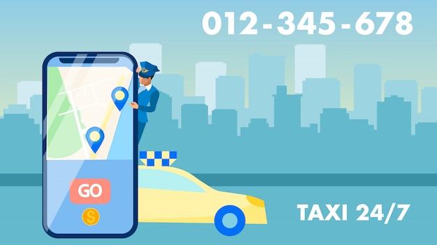 Faixa publicitária de serviço de táxi 24 horas por dia