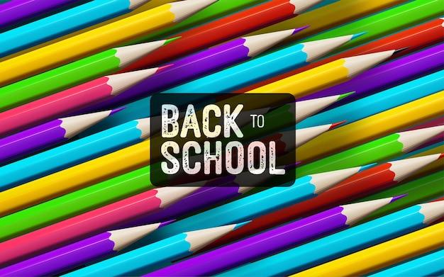 Faixa vintage branca de volta às aulas sobre fundo de lápis coloridos