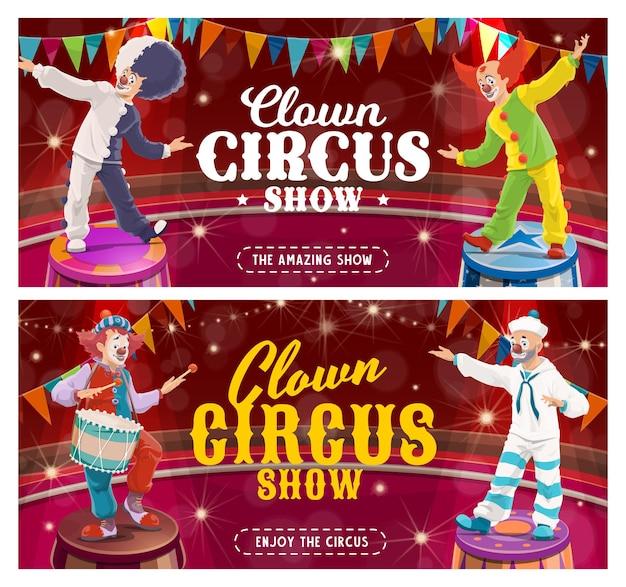 Faixas de desenhos animados de palhaço de circo do carnaval mostram personagens curingas na arena do circo