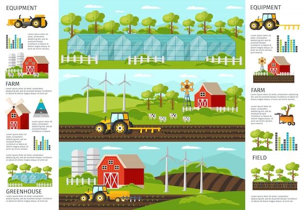 Faixas de infográfico de agricultura e agricultura