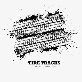Faixas de pneus de grunge abstrato com fundo de splatter de tinta