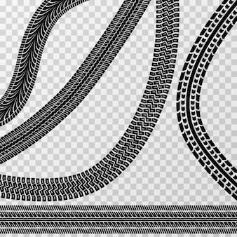 Faixas diferentes do carro e da bicicleta do pneu isoladas no fundo quadriculado - estoque do vetor