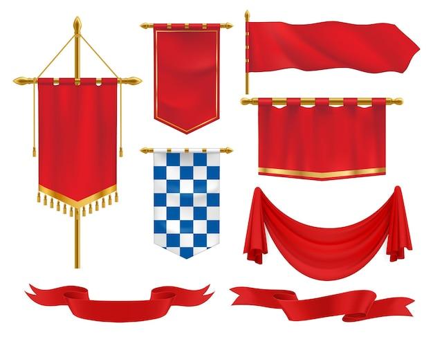 Faixas heráldicas, flâmulas e bandeiras têxteis