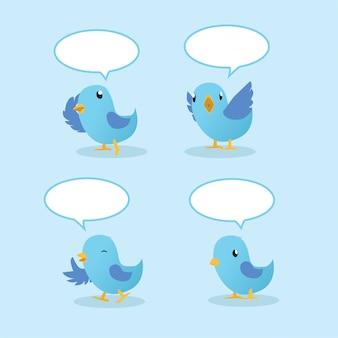 Falando de pássaros azuis com balões de fala