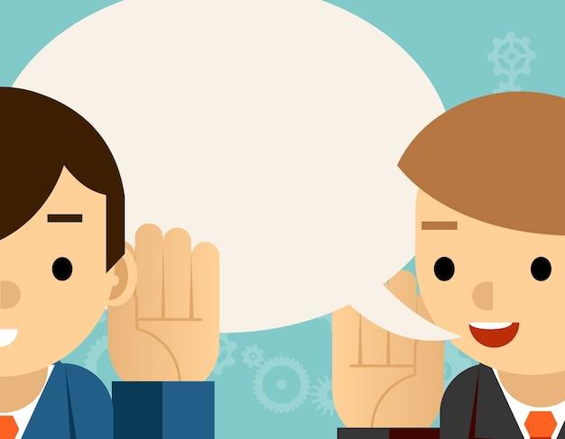 Falando e ouvindo. um homem segura a mão em seu ouvido e o outro diz. informação de bolha, audição e sussurro