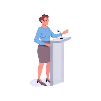 Falante feminino cor plana personagem sem rosto. mentor motivacional