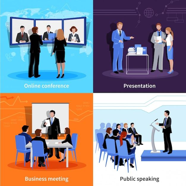 Falar em público 4 ícones plana quadrada banner de composição com reunião