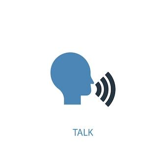 Falar o conceito 2 ícone colorido. ilustração do elemento azul simples. falar de design de símbolo de conceito. pode ser usado para ui / ux da web e móvel