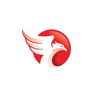 Falcão de águia falcão de pássaro e logotipo de asa