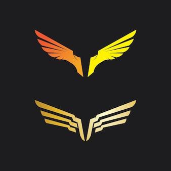 Falcão, logotipo de águia e asas ícone de design de ilustração vetorial de modelo