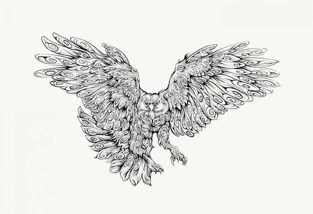 Falcão voando na mão de desenho