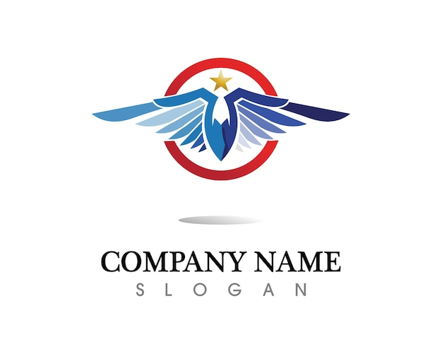 Falcon eagle bird logo template ícone vector