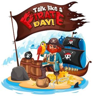 Fale como uma fonte do dia do pirata com o capitão gancho na ilha
