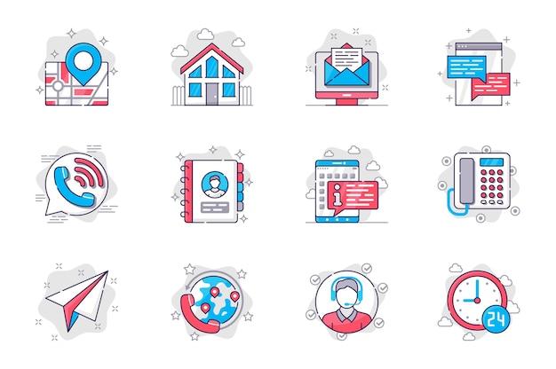 Fale conosco conceito conjunto de ícones de linha plana comunicação com o cliente para aplicativo móvel