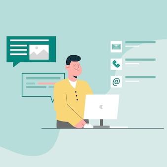 Fale conosco conceito. homem atendimento ao cliente com e-mail de contato, telefone e mensagem com computador