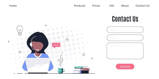 Fale conosco modelo de formulário para web e página inicial. mulher negra com fones de ouvido e microfone com laptop.