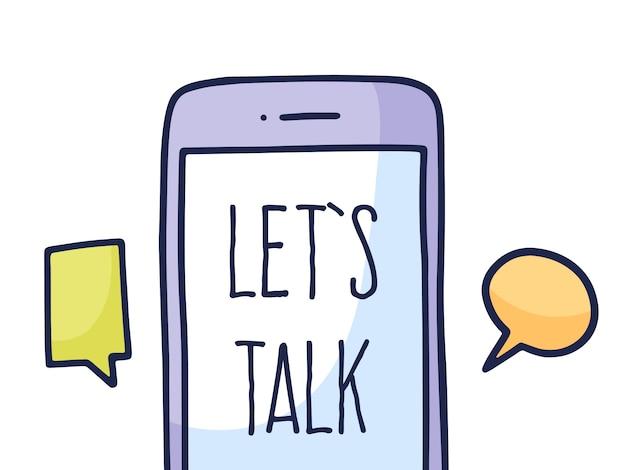 Fale logo do aplicativo, telefone móvel com bate-papo.