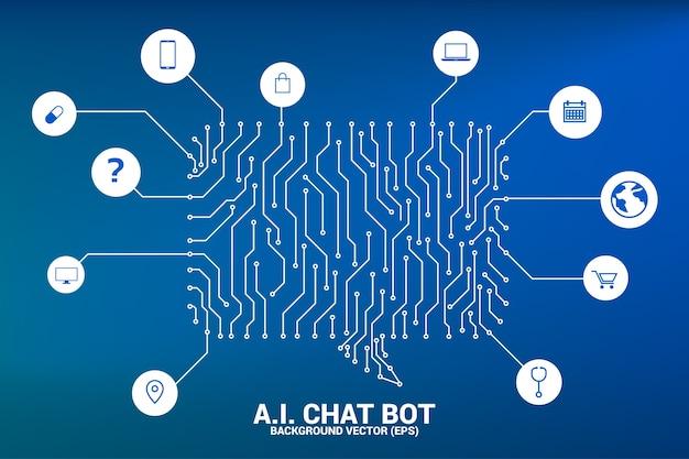 Fale o ícone de bolha com conexões de ponto e linha com estilo gráfico de placa de circuito
