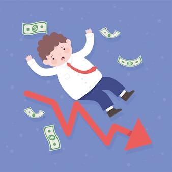 Falência caindo empresário arrow dinheiro processo de negócios crise financeira