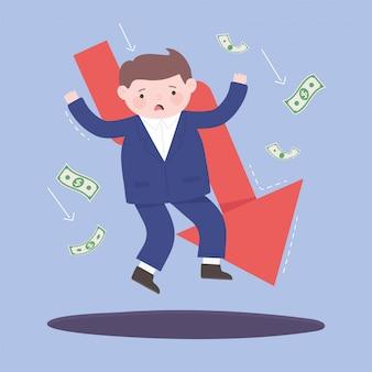 Falência caindo empresário seta notas dinheiro processo de negócios crise financeira