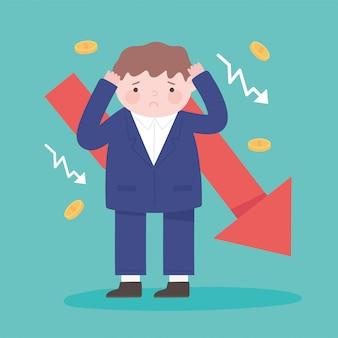 Falência empresário infeliz seta financeira para baixo crise empresarial