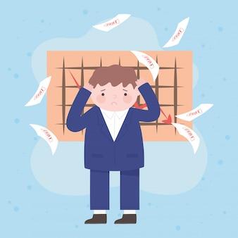Falência triste empresário cai papéis da dívida e gráfico de seta crise financeira empresarial