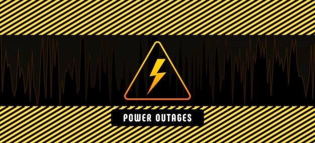 Falha de energia com o ícone de cuidado triangular amarelo