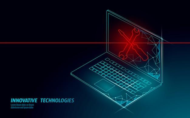 Falha fatal do sistema do computador. dados de bug de erro de software perdidos. reparação de serviços informáticos ajuda o conceito de negócio. ilustração de alerta de segurança da informação de ataque de vírus de laptop.