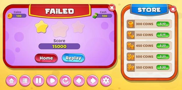 Falha no nível da iu do jogo infantil casual dos desenhos animados e menu da loja pop-up com botões de estrelas