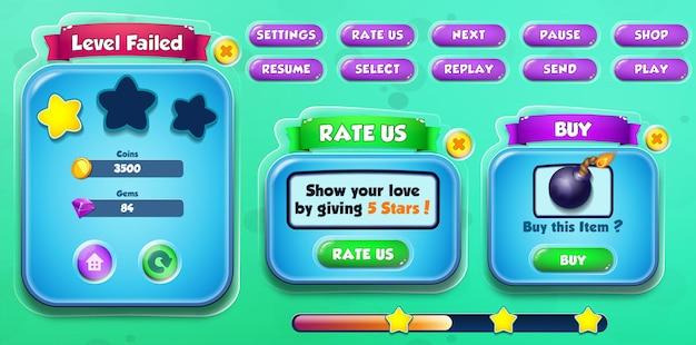 Falha no nível de interface do jogo casual dos desenhos animados para crianças, avalie os eua e compre menu pop-up com botões e barra de carregamento