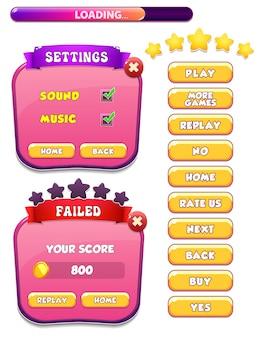 Falha no nível e tela pop-up de menu de configurações com estrelas e botão