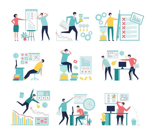 Falha nos negócios. gerentes com perda de processos de gerenciamento ruins falharam a papelada baixos gráficos e indicadores conceito