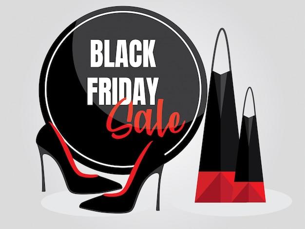 Falta círculo de marca de venda de sexta-feira com sapatos e ilustração de saco