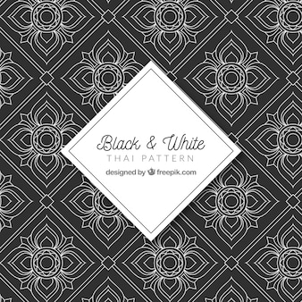Falta e branco padrão tailandês com design elegante