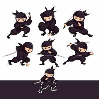 Falta ninja dos desenhos animados usando pose de espada e dardo