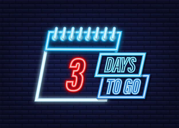 Faltam 3 dias. ícone de estilo neon. design tipográfico do vetor. ilustração em vetor das ações.