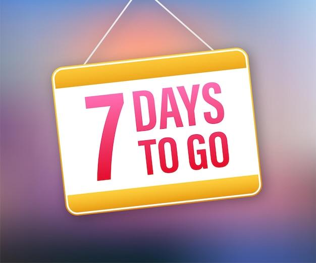 Faltam 7 dias. ícone do sinal da porta. ícone de tempo. venda de tempo de contagem. ilustração em vetor das ações.