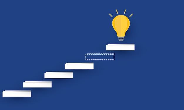 Faltando passo para o sucesso escada de sucesso ou aspiração para atingir a meta de negócios inspiração de conceito empresarial