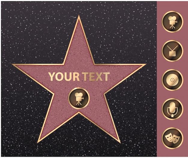 Fama da celebridade da estrela de hollywood na avenida da caminhada da rua.