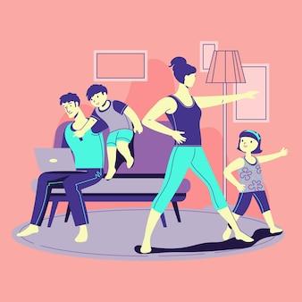 Família, a desfrutar de algum tempo juntos em casa