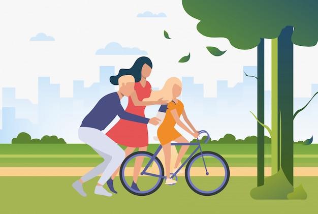 Família a passar tempo juntos ao ar livre