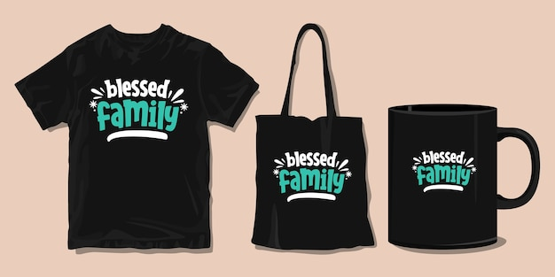 Família abençoada. camiseta para família. citações motivacionais de tipografia.