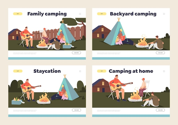 Família acampando no conceito de quintal