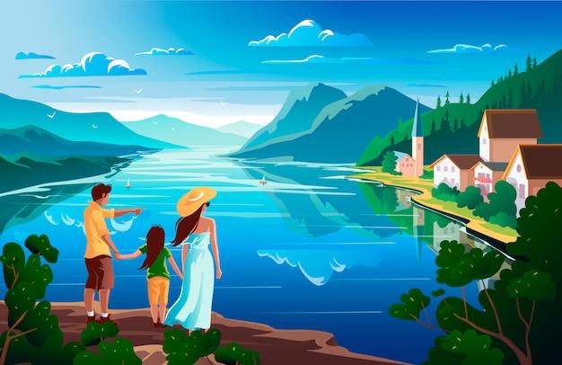 Família admira a natureza, bela paisagem montanhosa com lago.