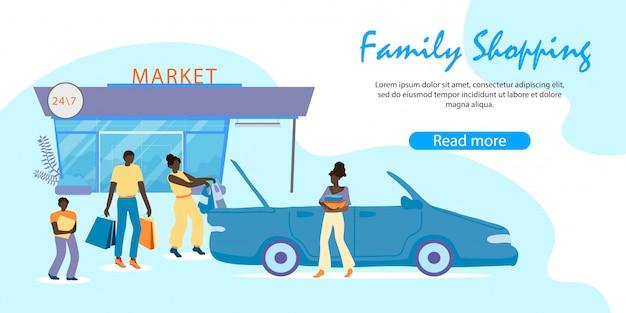 Família africana carregando compras de carro, compras