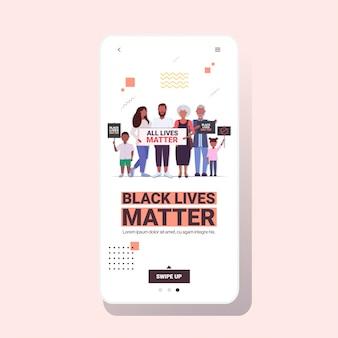 Família afro-americana com vidas negras importa banners campanha de conscientização contra a discriminação racial