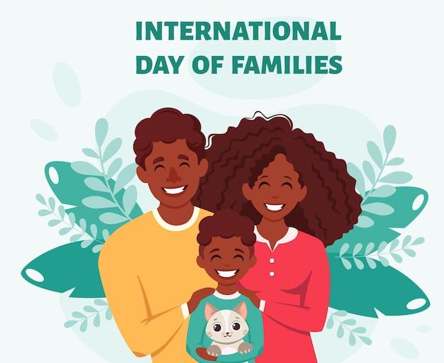 Família afro-americana feliz com filho e gato dia internacional das famílias
